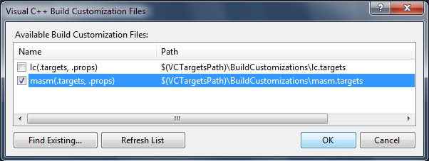 Build Customisations Dialog